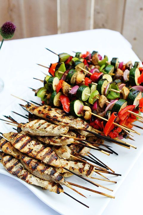 offer not only fish and meat bbq but also veggies and mushrooms to make your guests happy