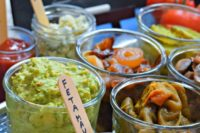 offer various dips, sauces and pickled veggies to add to burgers and sliders that your guests make