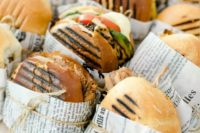 pack cool burgers into simple paper and secure them with twine to make them comfortable to serve