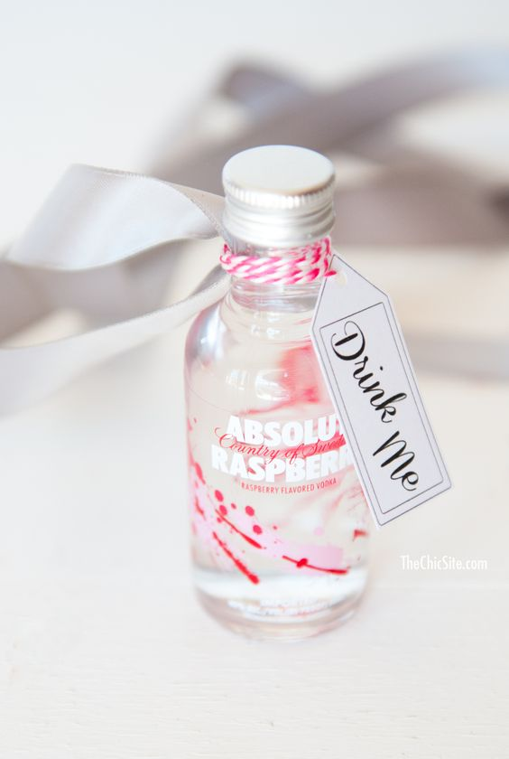 raspberry vodka is a creative and fun idea of a drinkable wedding favors, surprise your guests with it