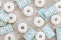 DIY mint to be rehearsal dinner favors – wrapped mints in various colors won't break the bank