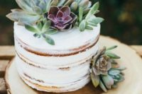 a naked cake topped with succulents is a trendy idea for any wedding, there are two trends in one