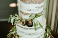 a naked fig and olive leaf wedding cake for a Tuscany wedding or a natural fall wedding