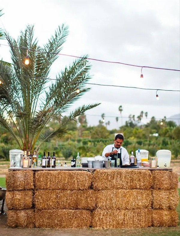 a rustic wedding drink bar covered with hay, with a tropical plant is a veyr unusual and creative solution to rock