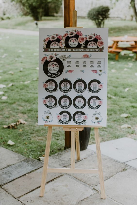 a wedding seating chart done with vinyl and florals is a great stationary idea for a themed wedding
