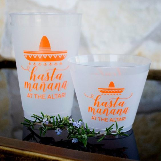 cool frosted glasses with printing will remind your guests of the destination wedding