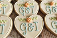 heart-shaped wedding cookies with your monograms are perfect for favors and you can DIY them