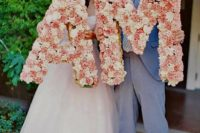 large floral letters done in pink and white are romantic, cute and chic for wedding decor
