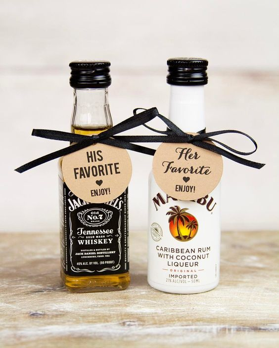 little alcohol bottles with ribbons showing off your partner's fave alcohol is an easy idea