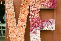 oversized decor is very popular – rock some oversized floral letters to make your wedding edgy