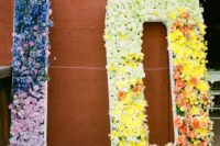 oversized floral and greenery letters in bold colors will give fun vibes to your summer wedding