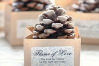 pinecone fire starters in paper boxes with tags is a very heart-warming idea for a winter wedding