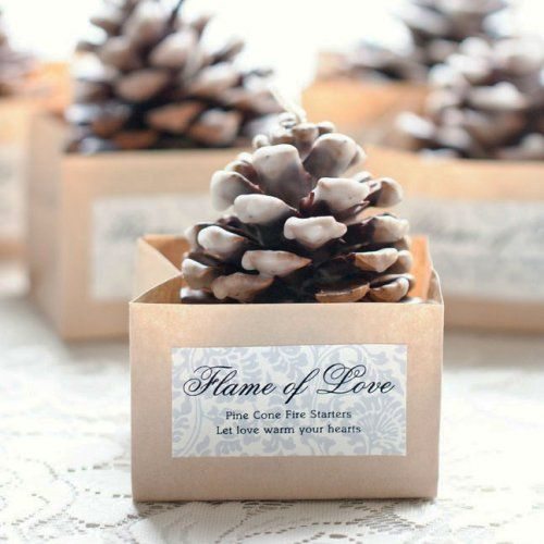 pinecone fire starters in paper boxes with tags is a very heart warming idea for a winter wedding