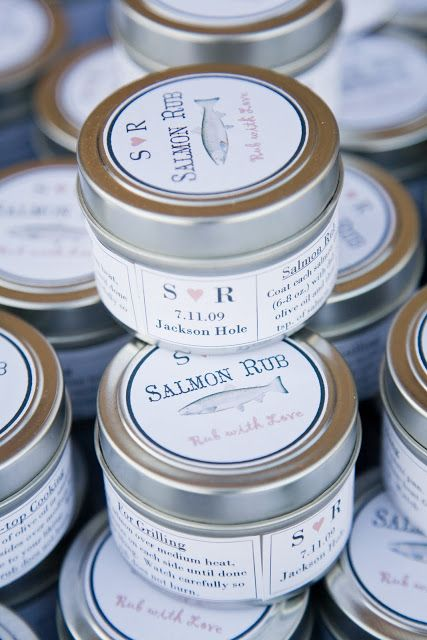 salmon rub in tin cans is a great idea for a seaside or beach wedding or rehearsal dinner