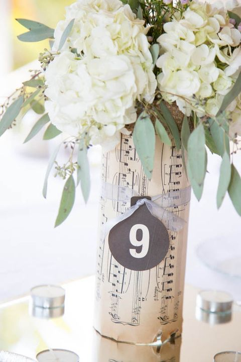 wrap your vase with note paper, secure it with a ribbon and add a chalkboard table number