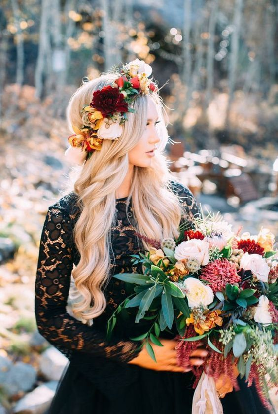 a bold fall bridal crown with rust, burgundy and neutral blooms, greenery and berries is a cool and bright solution