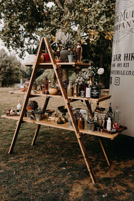 a cool outdoor wedding bar of a ladder, succulents and greenery, various drinks and glasses