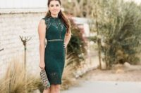 a dark green lace knee sleeveless dress, nude strappy shoes and a leopard clutch for a sexy feel