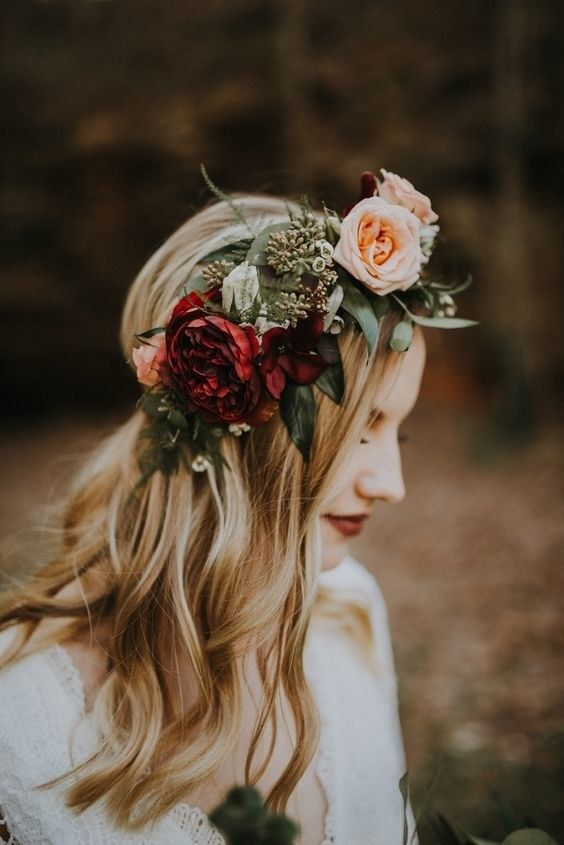 a pretty fall floral crown with blush and burgundy blooms and eucalyptus will always work for a fall bride