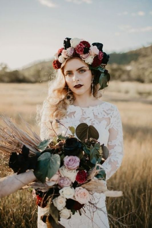 a statement fall floral crown with white, lilac, blush, burgundy and deep purple blooms and leaves is a gorgeous idea