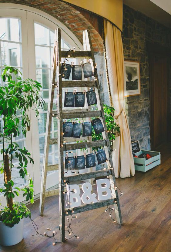 a wedding seating plan of a ladder with a chalkboard seating chart, lights and greenery