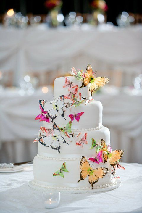 a white wedding cake decorated with yellow, pink and white butterflies looks spectacular and very bold and catches an eye