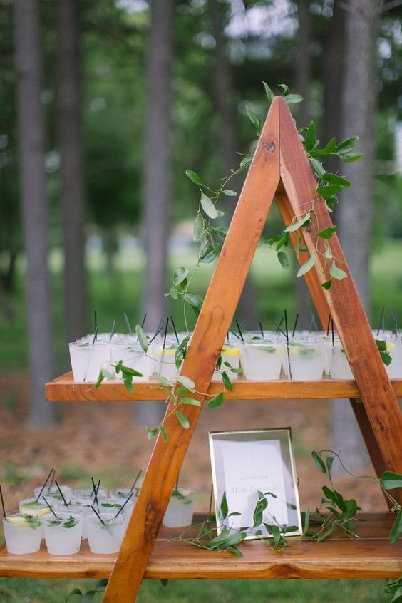 a wooden ladder with greenery and fresh drinks is a cool wedding drink bar for a rustic celebration