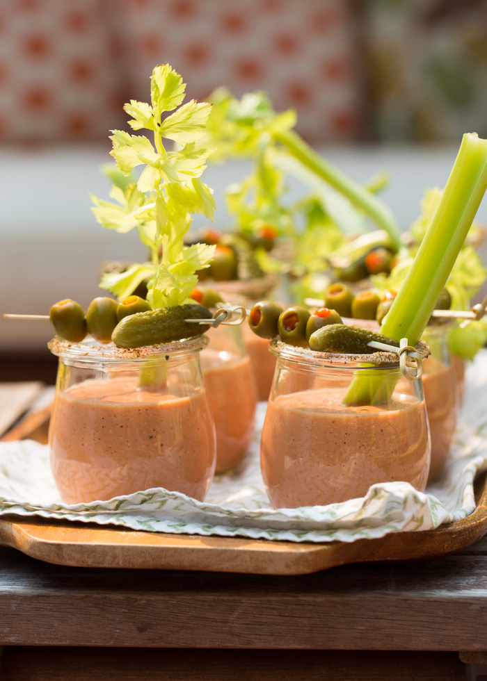bloody mary gazpacho shooters are a refreshing tomato soup meets a classic cocktail, great for the fall