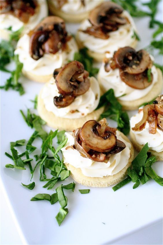 mascarpone and mushroom tarts with fresh greenery scream fall and tasty food