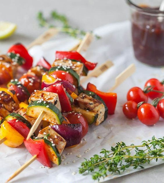 vegan grilled tofu skewers are gluten free and low carb, and they look amazing