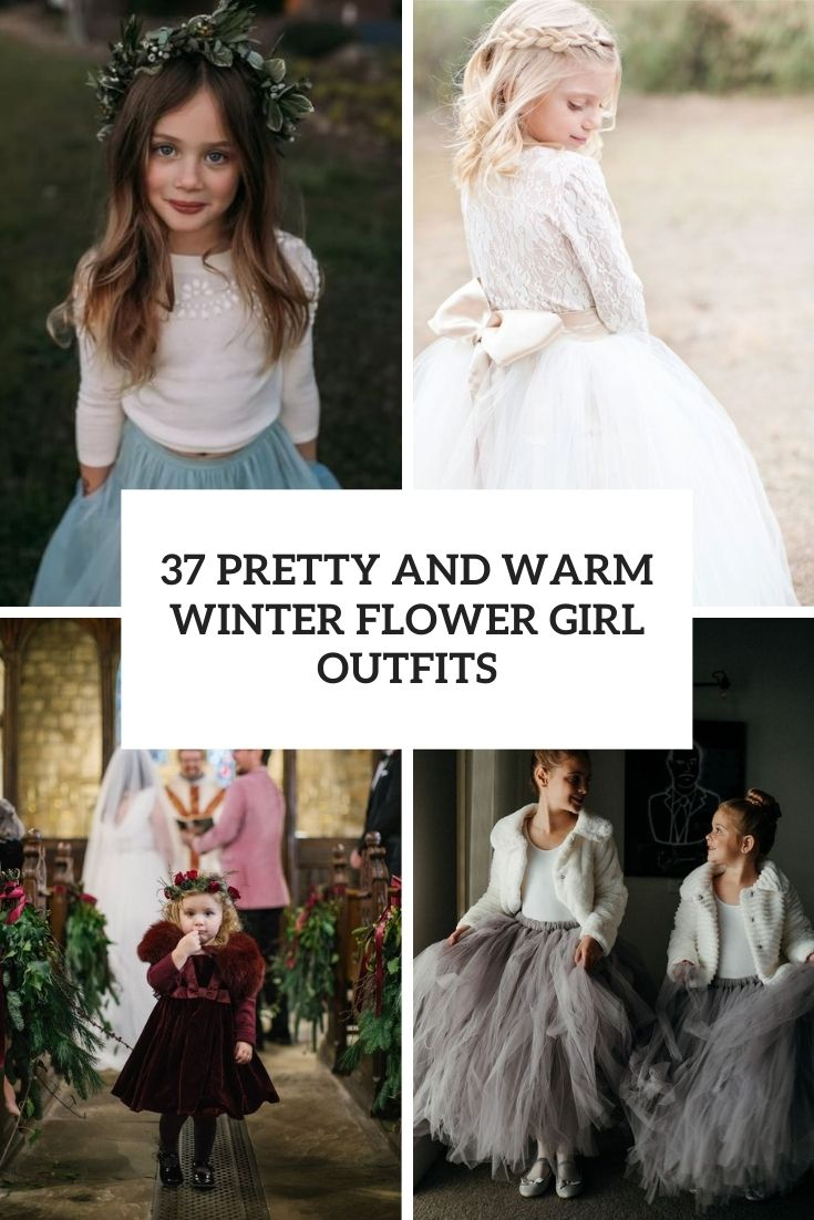 37 Pretty And Warm Winter Flower Girl Outfits