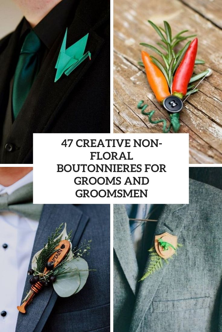creative non floral boutonnieres for grooms and groomsmen cover
