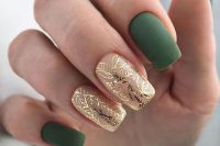a beautiful and refined fall wedding manicure with matte green nails and shiny gold botanical ones are fantastic