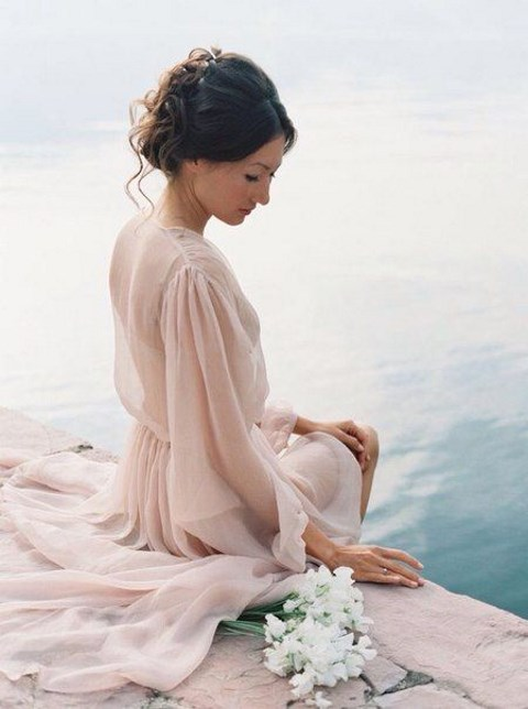a blush sheer bridal robe with long sleeves is a romantic morning gift to get ready in