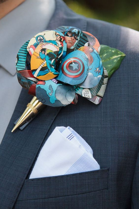 a colorful comics wedding boutonniere in a gold cone is a bright piece to rock