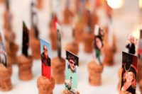 a nice idea to display your escort cards – print out photos and place them on wine corks