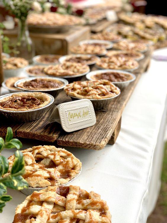 a cool rustic wedding food bar