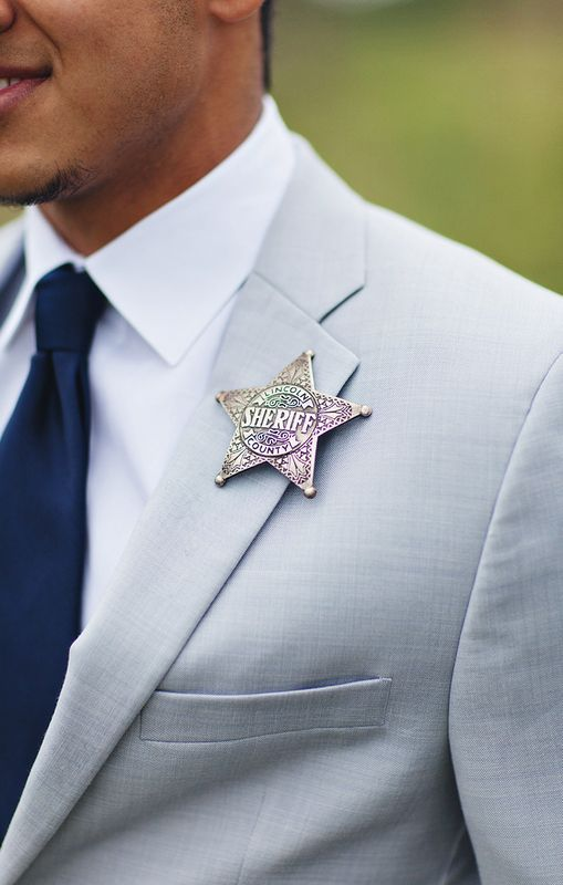 a sheriff badge will be really a unique wedding boutonniere with a touch of humor