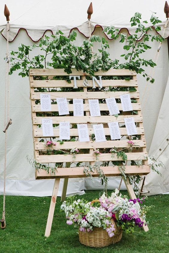 a wedding seating chart with a pallet on stands and monograms and much greenery