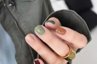 bright mismatching fall wedding nails – orange, ivory, burgundy, green ones for a cool and fun fall bridal look