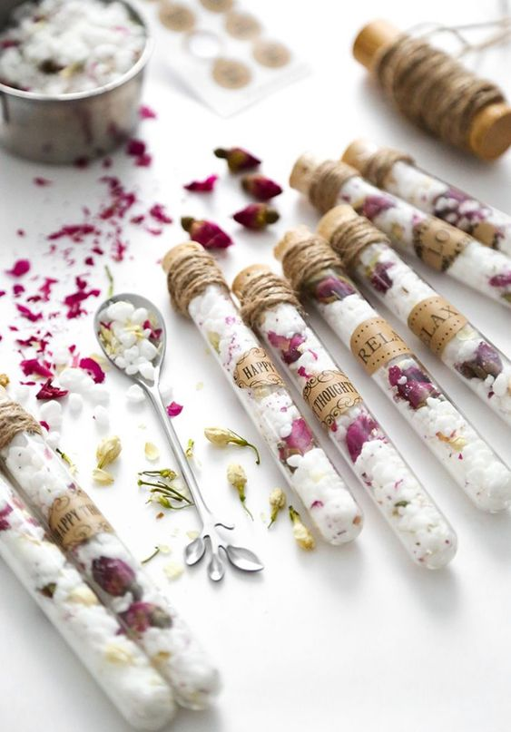 cool spa bridal shower favors   dried flower bath salts in test tubes are very cool and useful favors