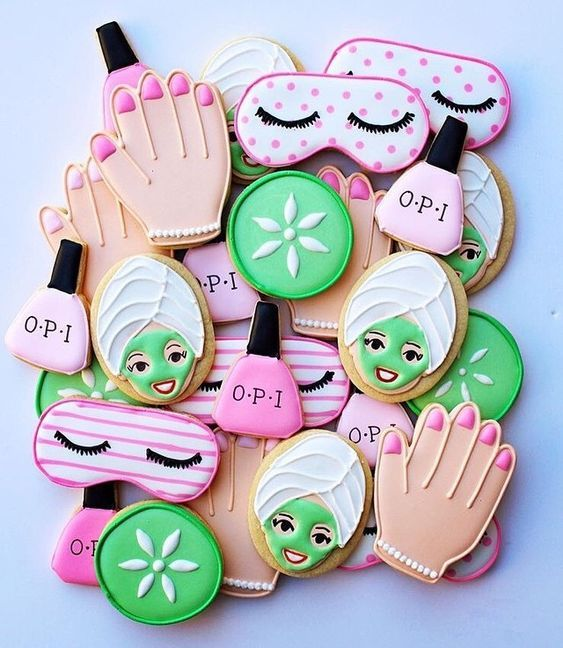 fun and colorful spa bridal shower cookies will make your gals smile for sure