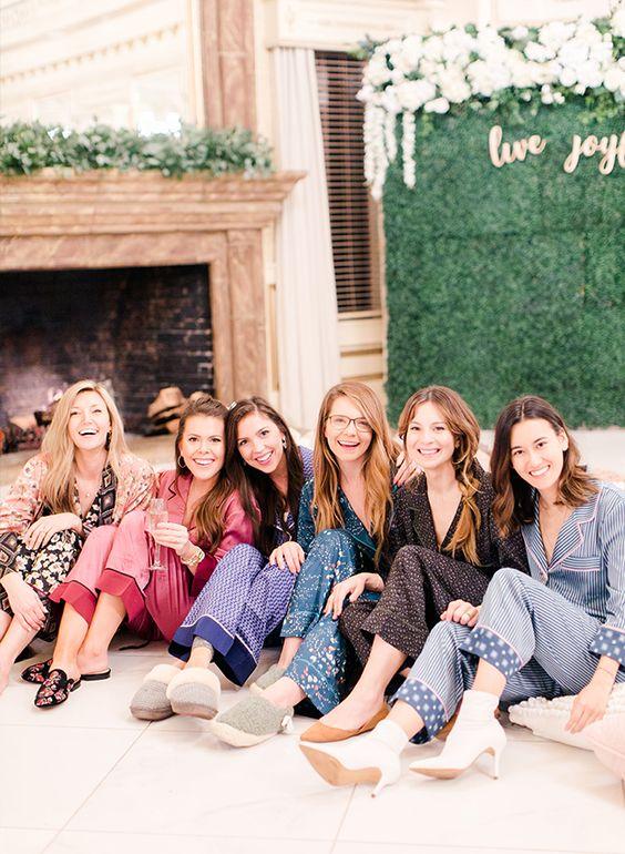 gals in mismatching pajamas at the spa bridal shower   give your gals matching or mismatching ones