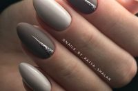 glossy white and matte grey nails with silver glitter touches are beautiful and romantic and will match your fall bridal look