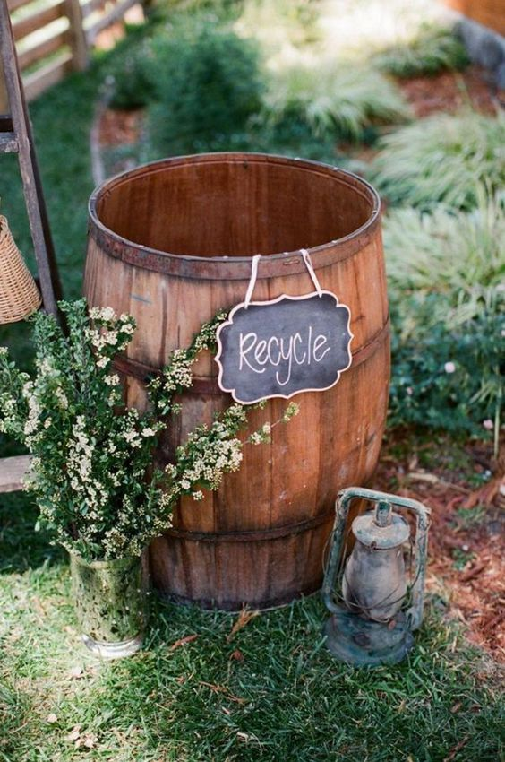 if you are having an eco-friendly wedding, put a barrel for various stuff to recycle