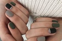 matte grey, black and hunter green nails with a negative space are a fall-inspired and moody manicure idea for a bride