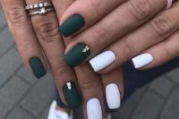 matte hunter green and white nails, with gold studs for a lovely fall-inspired bridal look