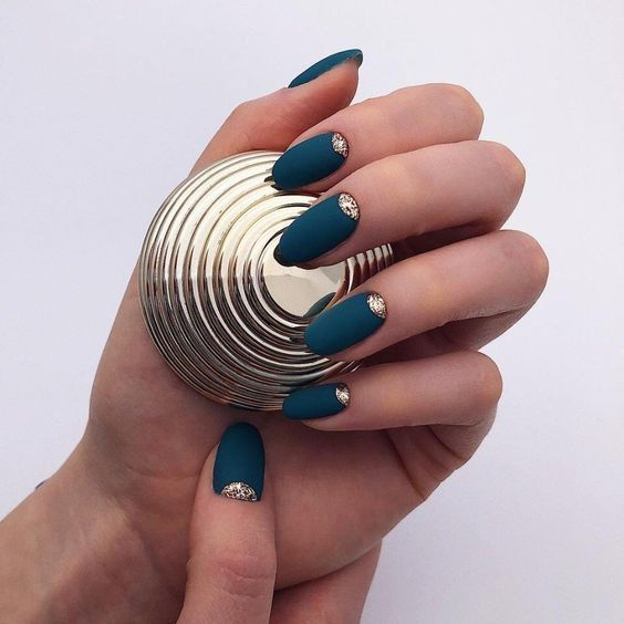 matte navy nails with gold glitter half moons are lovely, bold, jewel-toned nails for a fall bride