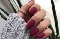 matte purple nails look super stylish and wil bring a touch of color to your fall bridal look