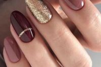 mauve, burgundy nails and an accent glitter one for a traditionally chic fall wedding manicure